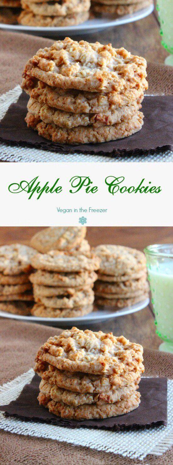 Apple Pie Cookies by veganinthekitchen: Grated fresh apple is blended with apple pie spices. Soft, sweet and chewy all in one little package. #Cookies #Apple_Pie