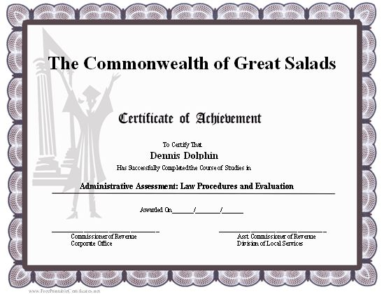 A printable certificate of achievement for a high school or college graduate, with a graduating high school or college student in a cap and gown. Free to download and print