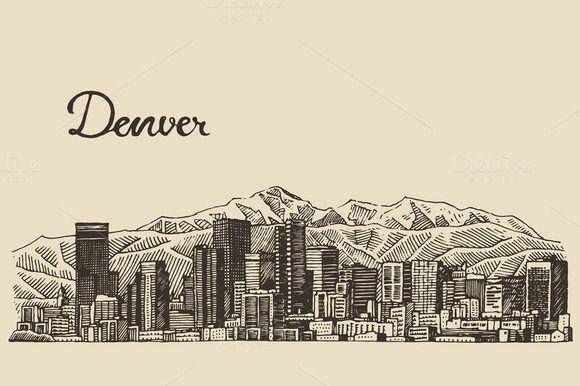 Denver skyline by grop on Creative Market