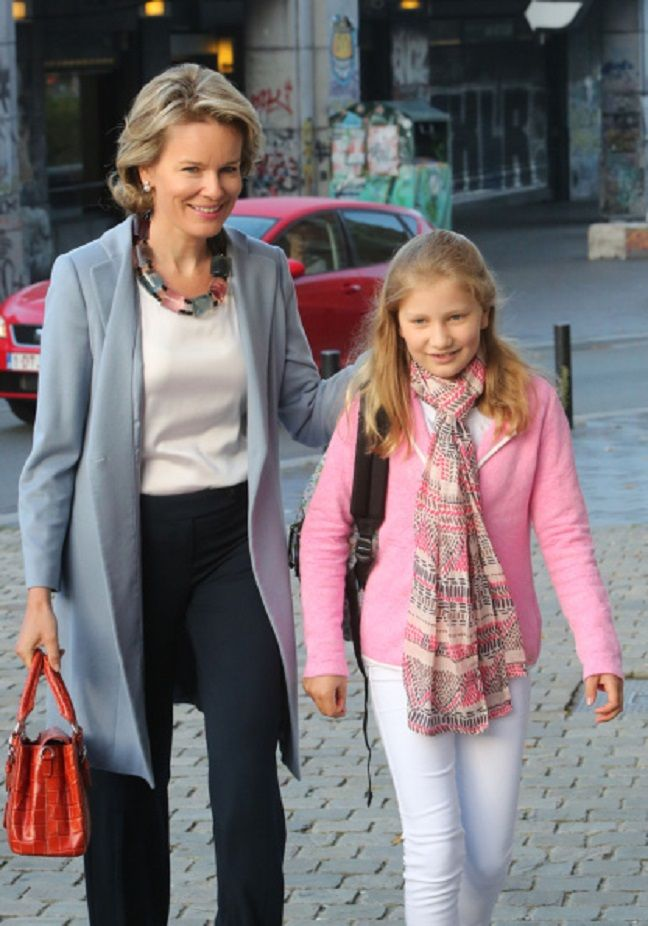 Queen Mathilde of Belgium and Crown Princess Elisabeth, Duchess of Brabant arrive at Sint-Jans Berghmanscollege on the first of the day of the school on 01.09.2014 in Brussel, Belgium.