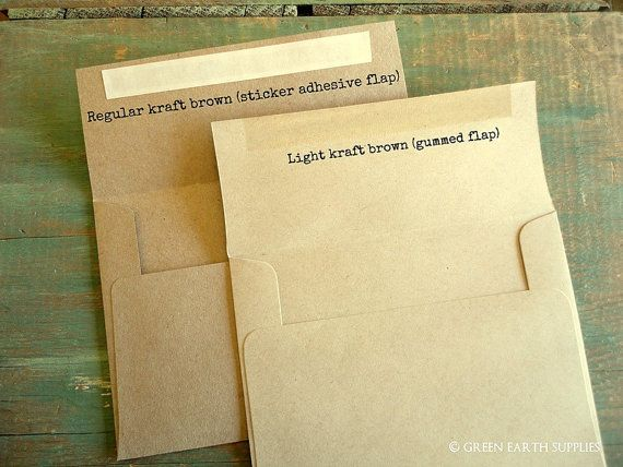"50 A7 Kraft Envelopes: rustic kraft brown envelopes, grocery bag envelopes, A7 envelopes, eco-friendly recycled, 5 1/4"" x 7 1/4"" (133x184mm)"
