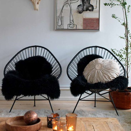 Love the black sheepskin on the black chair