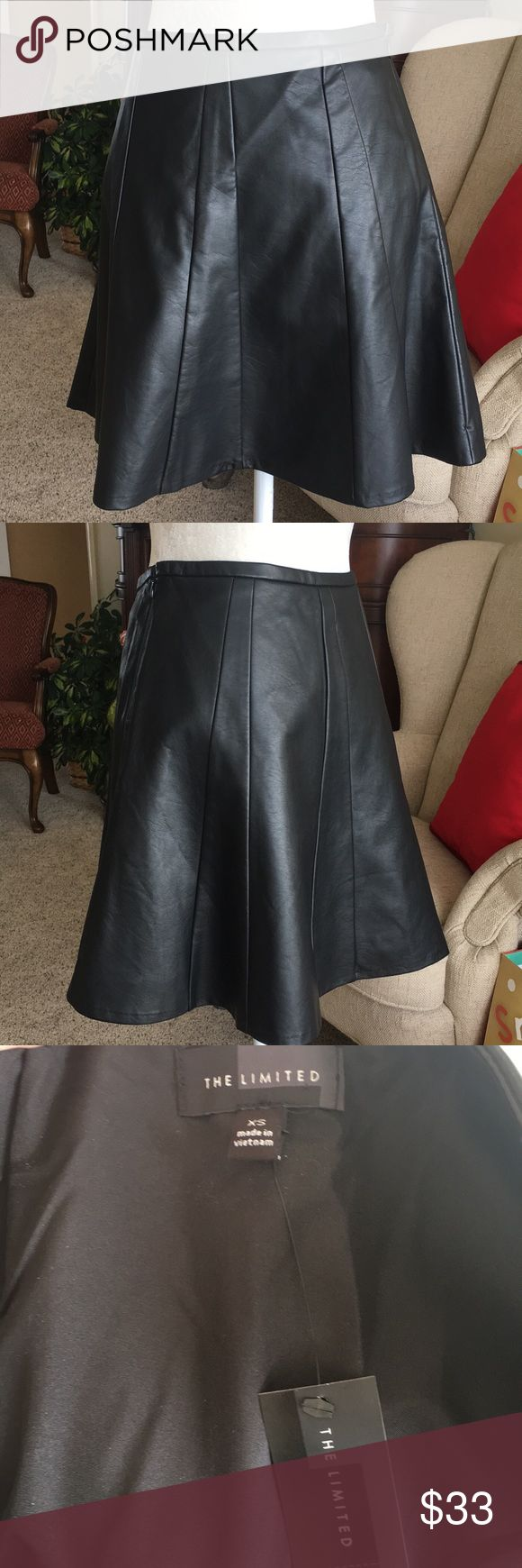 """NWT The Limited leather skater skirt Black 100% leather skater skirt from The Limited. Waist laying flat 14"""" length 17 1/2"""" The Limited Skirts Circle & Skater"""
