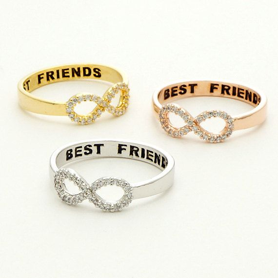 CZ Best Friends Infinity Ring in Rose Gold / R049RG by silverholic