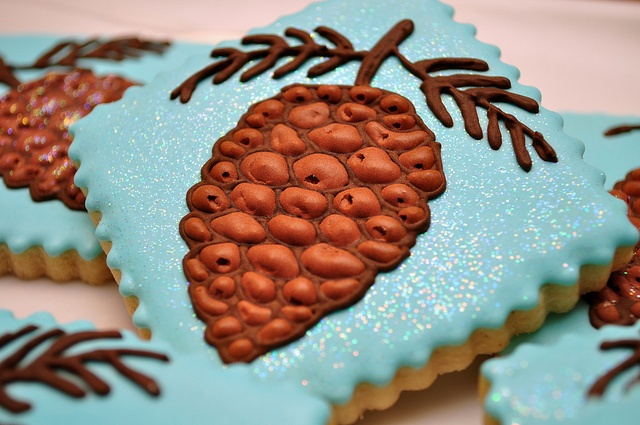pinecones cookies christmas autumn - love these colours