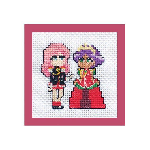 Revolutionary Girl Utena Cross Stitch, Finished Ready to Frame Wall Art, Anime Manga Cute Characters, Anthy Himemiya, Custom, 4x6, 4x4