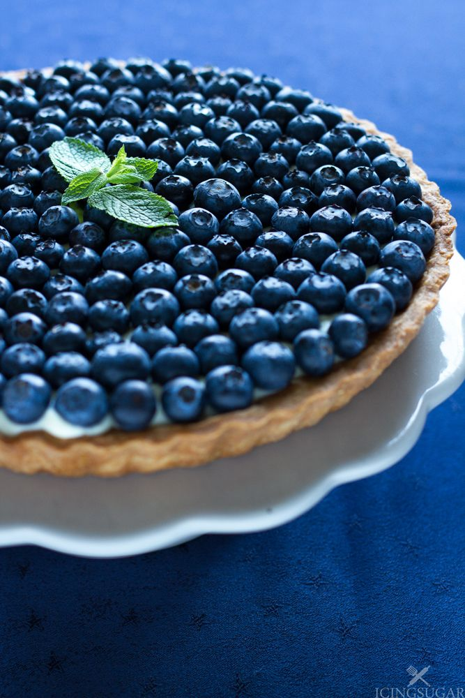 Blueberry and Mint Tart {by Icing-Sugar.net}