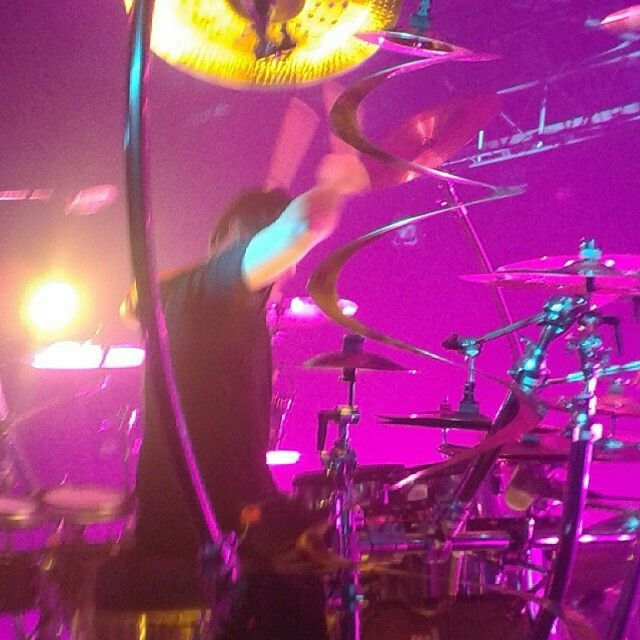 Korn Stockholm Sweden Fryshuset 9 Maj 2014 Ray Luzier in action.  Photo by me standing on stage with the band the first two songs.