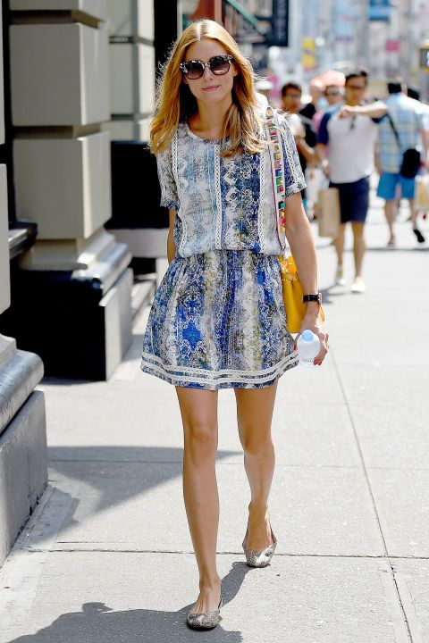 Olivia Palermo wears matching separates. The style maven fakes the effortless look of a printed sundress, in this matching two-piece. Get the look here.