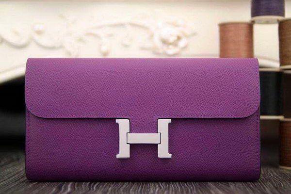 Hermes Constance Long Wallets Original Leather HA909 Purple