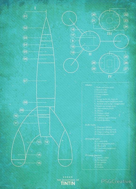 Tintin Moon Rocket Blue Print