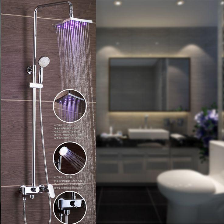 Freeshipping torneira do chuveiro, Chuveiro led, Banheiro do chuveiro termostática set, Banho torneira da banheira alishoppbrasil