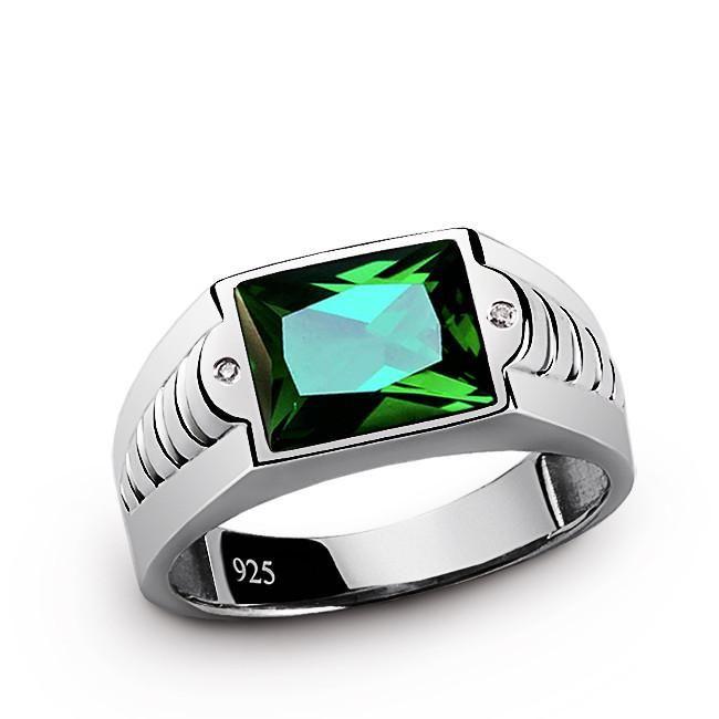 Men's Gemstone Ring with Diamonds and Green Emerald in 925 Sterling Silver #emerald #goldring #giftforhim #giftforman #diamondring #mensring #finejewelry