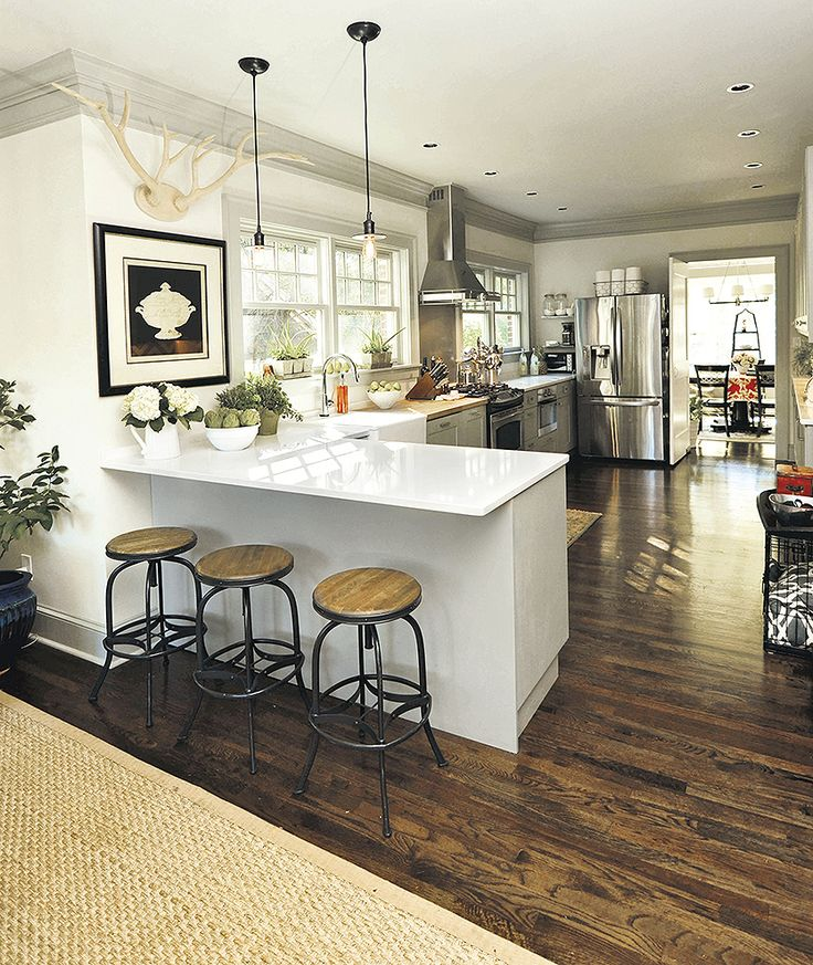 Kitchen, Modern Neutral Kitchen Island With Three Bar Stools Also With A Couple Of Bronze Pendant Lamps Plus High Gloss Laminate Flooring And Refrigerator And Chair: Awesome Uniquely Kitchen Cabinet Styles