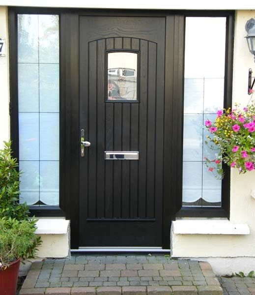 Black composite front door, not the one I eventually bought as it did not light up the hall enough.  Went for more glass.