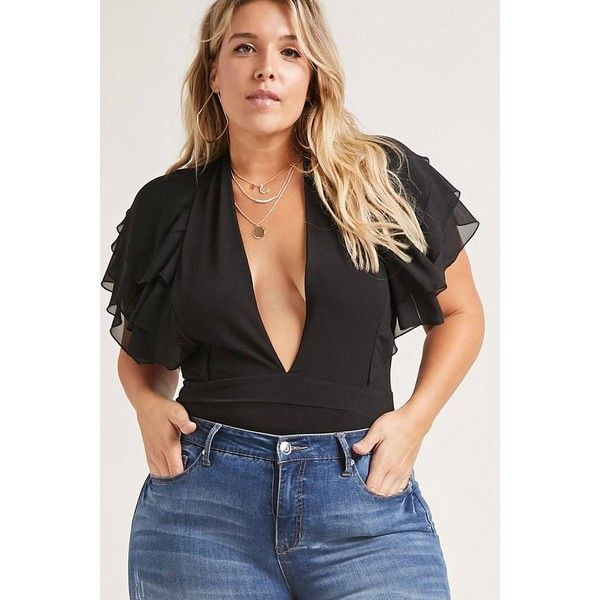 Forever21 Plus Size Plunging Bodysuit ($38) ❤ liked on Polyvore featuring plus size women's fashion, plus size clothing, plus size intimates, plus size shapewear and black