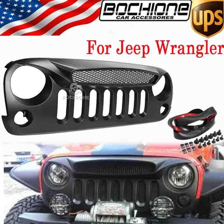 Custom Jeep Rubicon >> For Jeep Wrangler JK 07-15 Shark Nose Ghost Front Grill ...