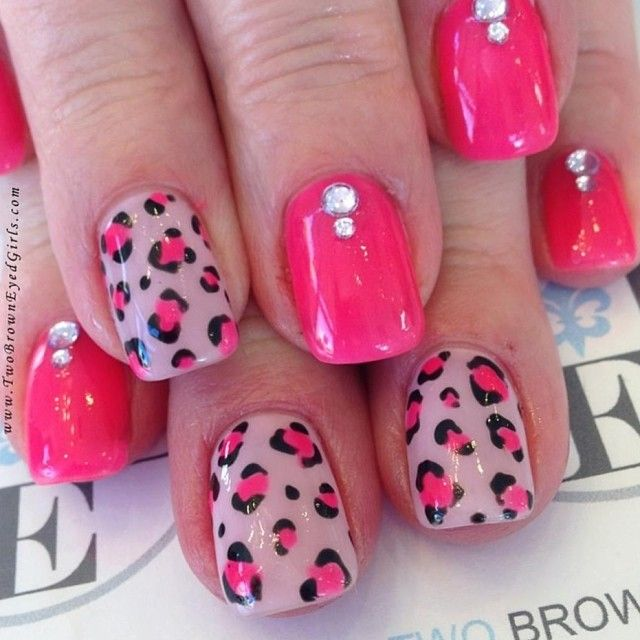 PINK LEOPARD PRINT nails #meow