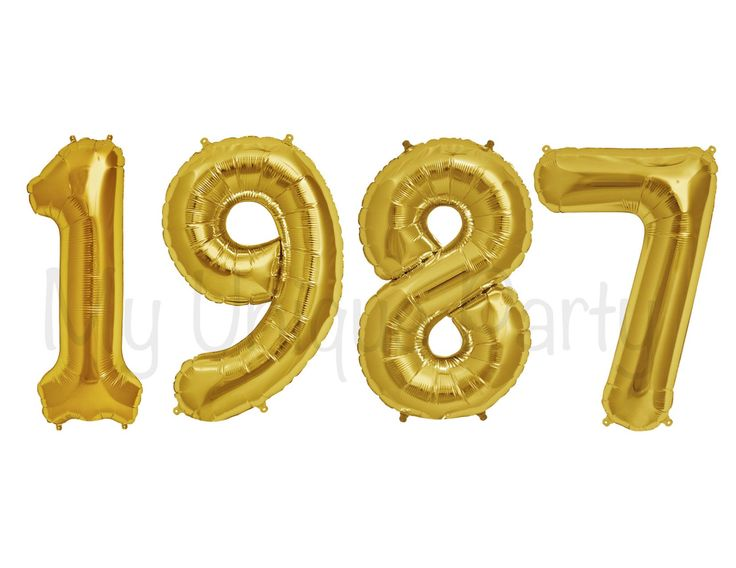 "1987 Number Balloons Set of 4 Balloons / Small 13.5"" Balloons Air Fill only / 34"" Helium Quality / Class Reunion 30th Birthday Anniversary by MyUniqueParty on Etsy https://www.etsy.com/listing/521020938/1987-number-balloons-set-of-4-balloons"