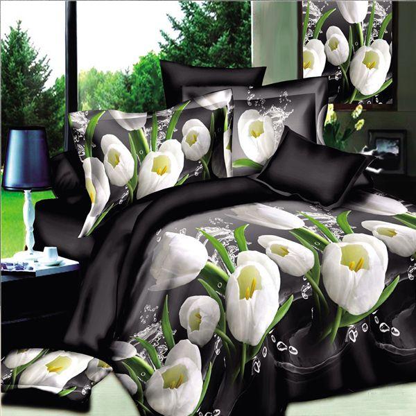 high quality duvet cover king size set of bed linen luxury bedding set floral bed linen cotton reactive printingin bedding sets