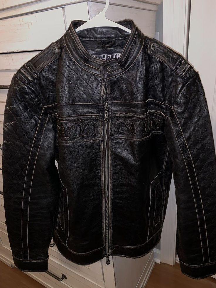 LARGE affliction black premium Leather jacket Limited