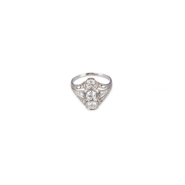 ZE119 Platinum Diamond Art Deco Ring
