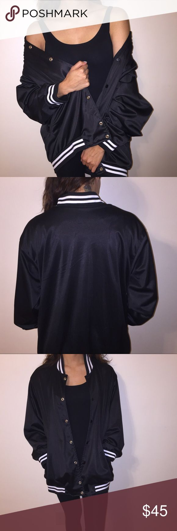 Black Satin (looking) Jacket 🎱 This dope sweater is the perfect piece to add to your wardrobe! Wear it off the shoulder with a dress, or as seen on pic! | No size tags, but fits like a men's XL -- Impeccable condition! 🍾 Jackets & Coats Bomber & Varsity