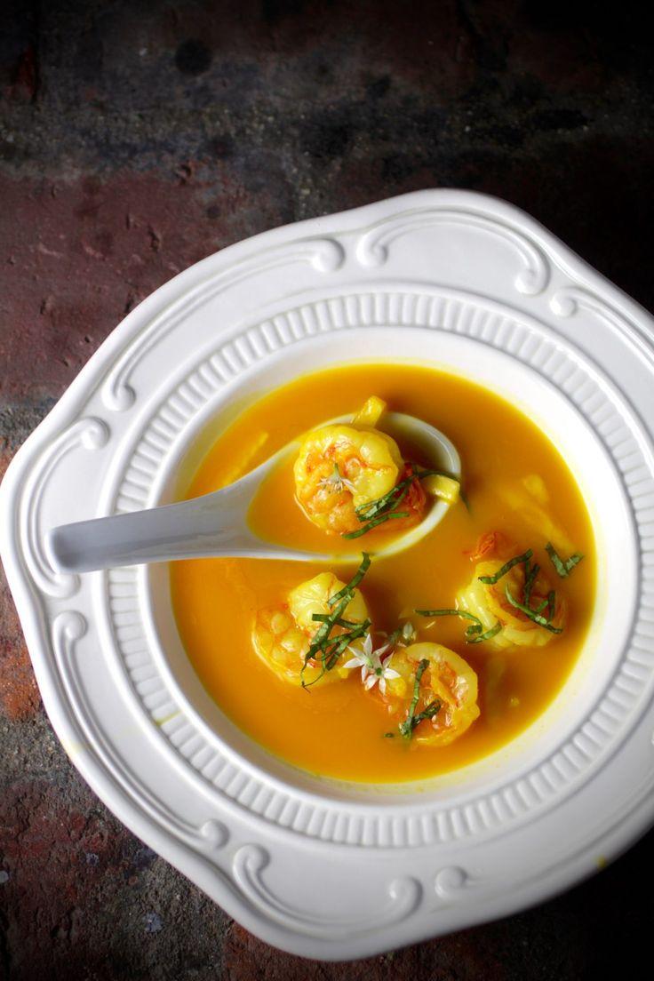 Fragrant Asian Bistro Soup with Shrimp, Saffron, Lemongrass, Pineapple