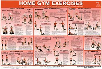 universal home gym equipment fitness wall chart poster