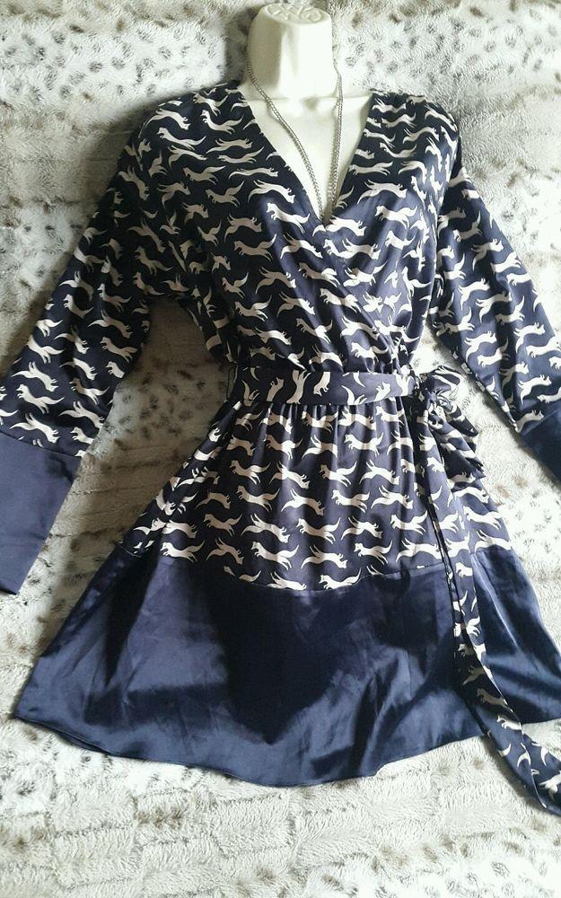 Ab Fab Fox Print Detail GUESS By MARCIANO Blue Satin Tunic Dress UK 8 #GUESS #Tunic