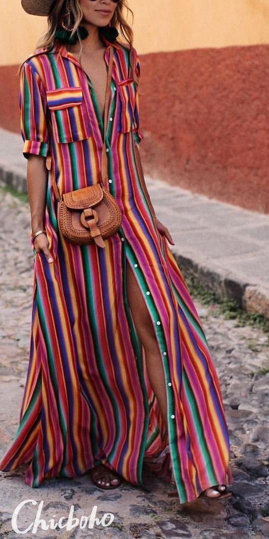 Bohemia Striped Shirt Maxi Dress 2