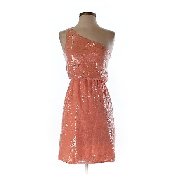 Pre-owned alice + olivia Silk Dress Size 0: Coral Women's Dresses ($96) ❤ liked on Polyvore featuring dresses, coral, coral cocktail dress, coral dress, coral silk dress, red silk cocktail dress and red silk dress