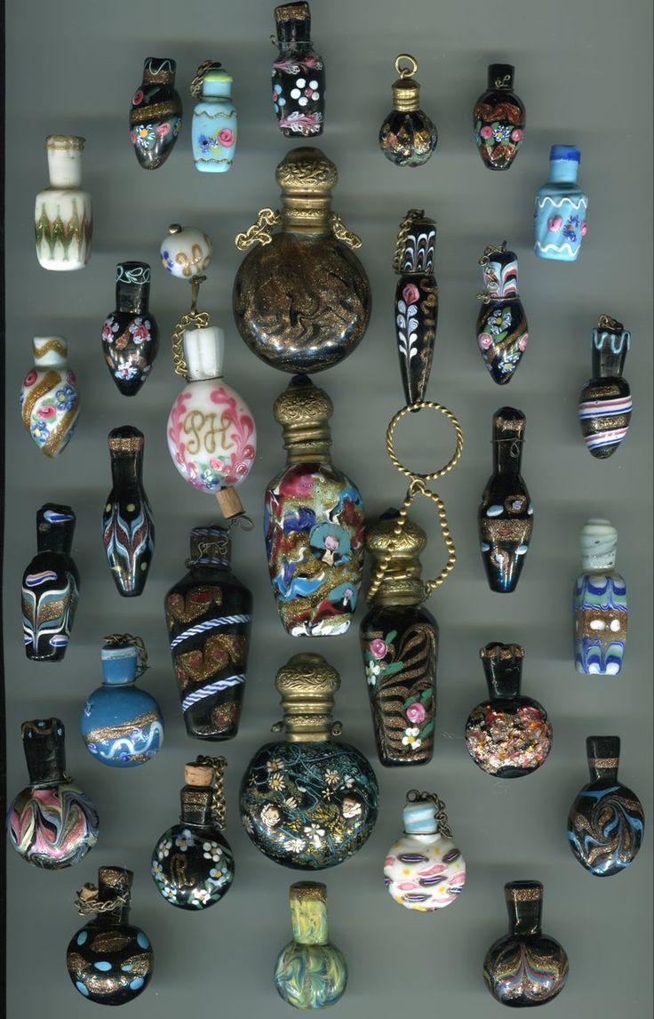 Antique Venetian perfume bottles circa late 1800's, early 1900's.