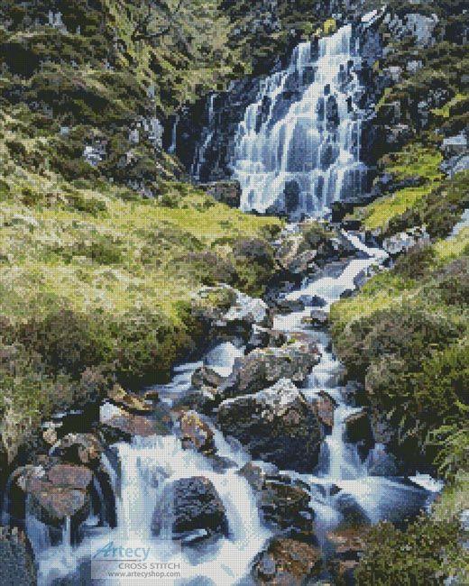Artecy Cross Stitch. Waterfall Cross Stitch Pattern to print online.