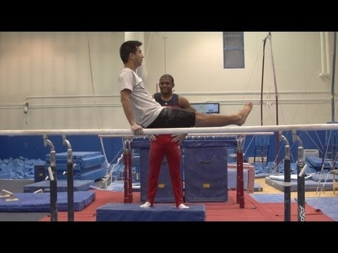 John Orozco trying to teach a reporter how to do gymnastics, really funny!