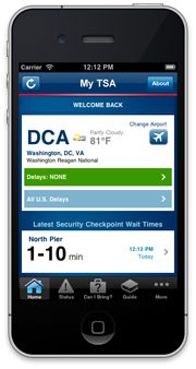 TSA app | 24/7 access to information about airport security procedures that passengers frequently request