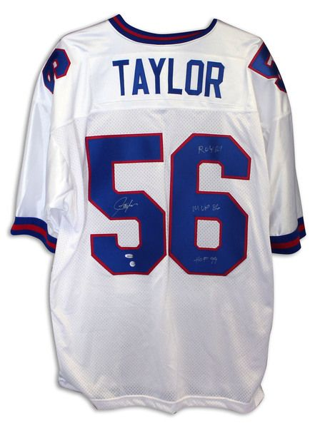 3b265317843 ... Lawrence Taylor New York Giants Autographed White Jersey Inscribed New  York Giants 56 ...