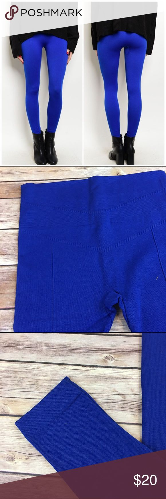 "Royal Blue Fleece Lined Leggings Royal Blue Fleece Lined Leggings. One size fits most. Waist 28""/ inseam 24"" unstretched. Made of poly/ spandex blend Bchic Pants Leggings"