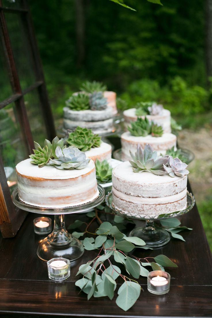 Naked cakes made locally decked with succulents from a local florist! Get inspired for your wedding dinner and wedding dessert table! Fresh boho party theme!