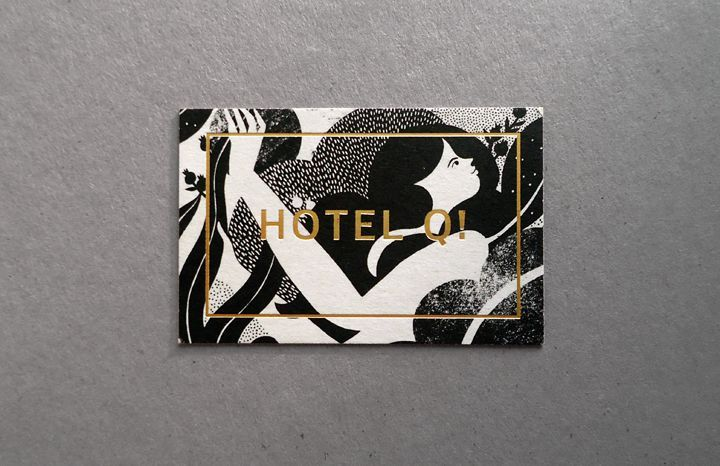 Hotel Q! Illustrated and gold foiled business card designed by Karolin Schnoor.   Business Cards   Pinterest