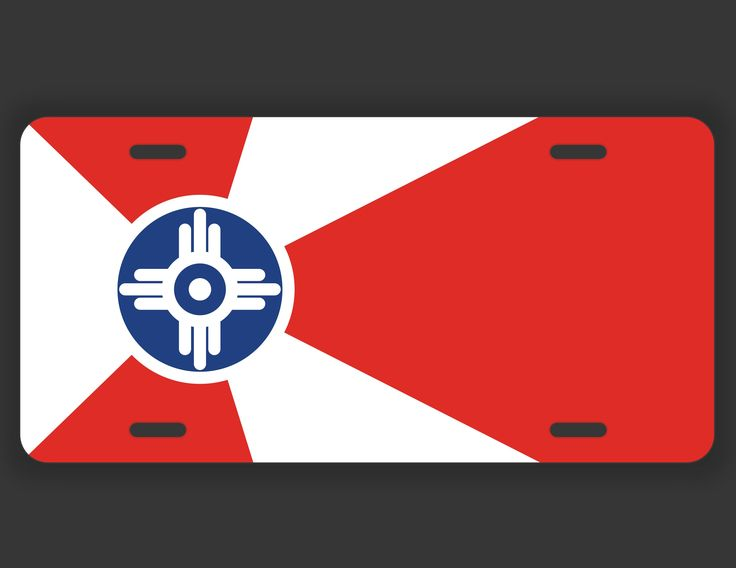 Wichita Kansas Flag License Plate Tag Vanity Novelty Metal | UV Printed Metal | 6-Inches By 12-Inches | Car Truck RV Trailer Wall Shop Man Cave