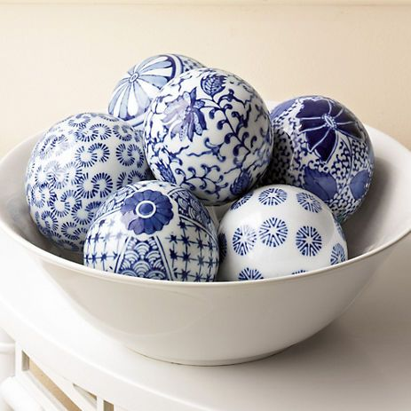 Handpainted Spheres, centuries old tradition of decorating white porcelain with blue.