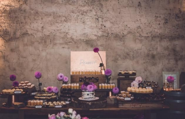 Desert Table with Naked Cake.  Real Wedding: Mel + Vince - WHITE Magazine