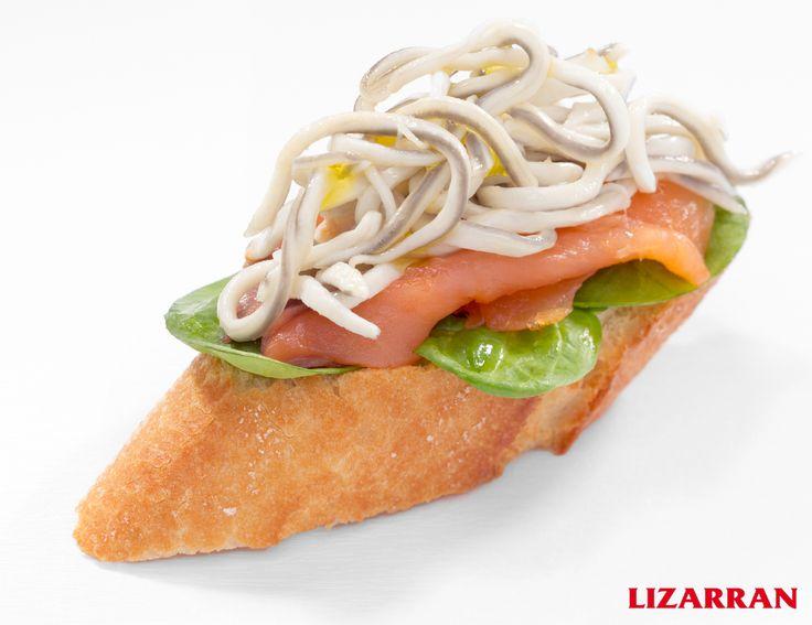 Salmón con gulas #Lizarran #Pinchos