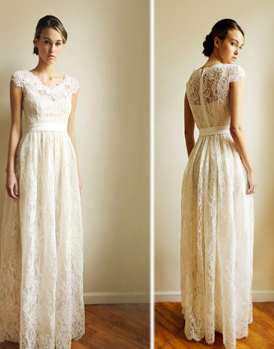 Eco-friendly lace gown designed by Leanne Marshall, Project Runway winner -  Eco wedding dresses that wont break the bank