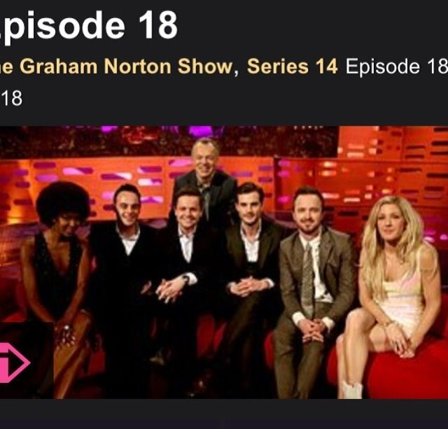 #100happy days day 57, Graham Norton show with Ant & Dec, Aaron Paul and Ellie Goulding!