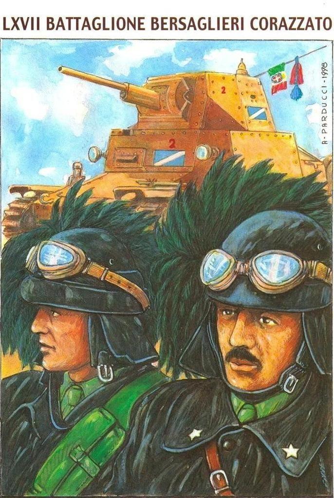"""Regio Esercito - LVII  BATTAGLIONE   BERSAGLIERI  CORAZZATO -  Questo reparto costituito a Siena il 25 febbraio 1942 con 55 carri L 6/40  fu inviato dopo alcuni mesi in Russia insieme al XIII Gruppo Semoventi da 47/32 del Reggimento """" Cavalleggeri di Alessandria"""" (14°) Il LXVII entrò in azione nel settore Jagodny in appoggio al 5° Reggimento Alpini impegnato a respingere un attacco russo, in seguito fu aggregato, come rinforzo mobile al II ° Corpo d'Armata (Divisioni """"Cosseria"""" e """"Ravenna"""")."""
