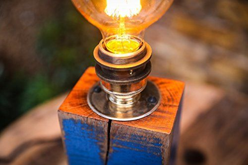 Table Lamp with Blue Detail Handmade from Reclaimed Hard Wood with Vintage Bulb