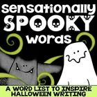 A word list filled with spooky words.