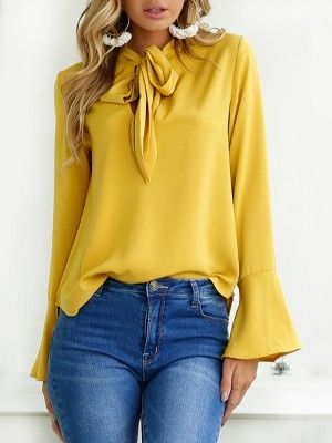 Elegant Tied Front Flare Sleeve Casual Blouse